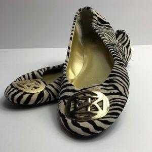 Anne Klein Shoes - Anne Klein Iflex Velvet Zebra Pattern Slip On Shoe